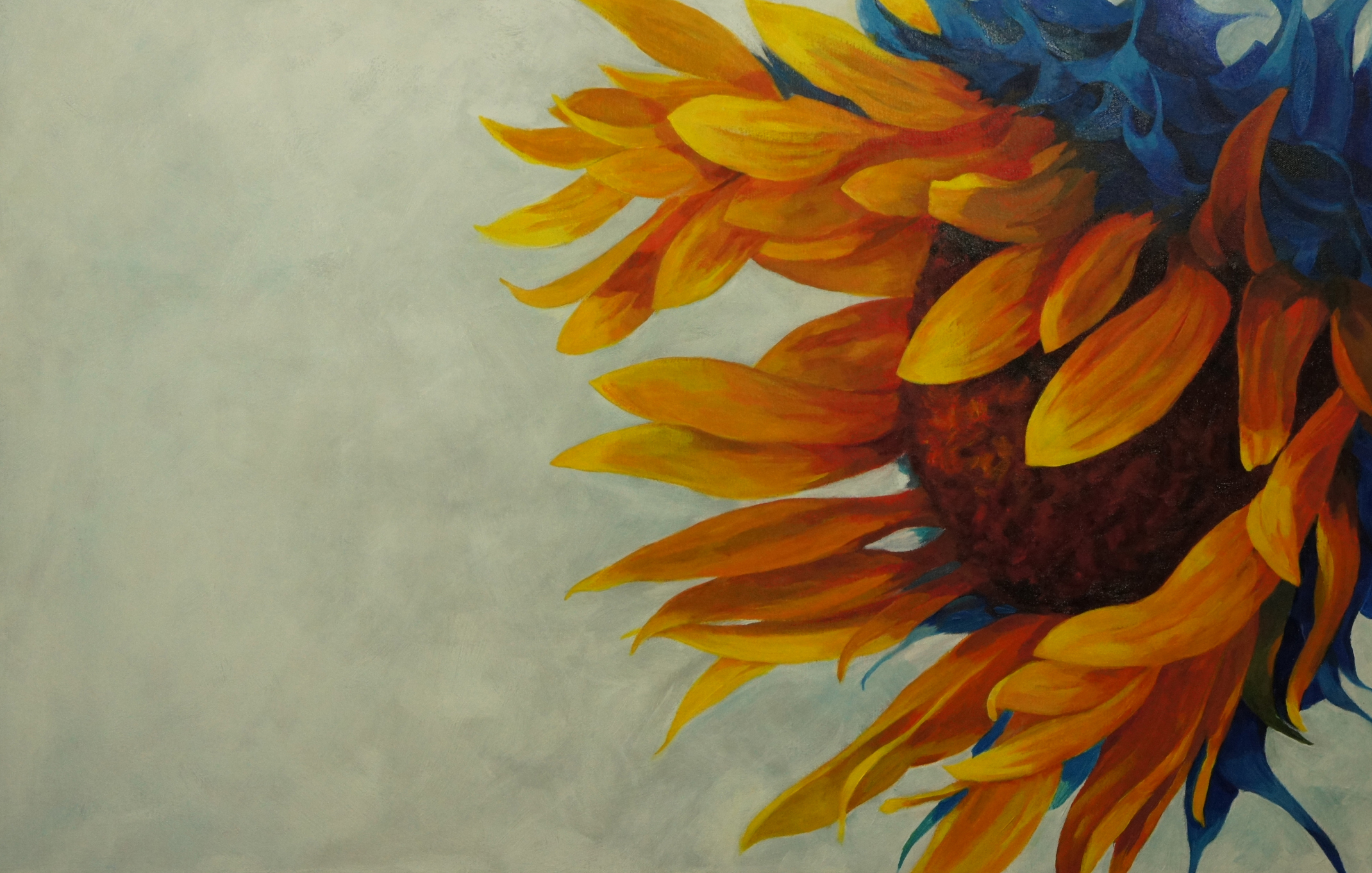 Acrylic sunflower painting the image for Acrylic mural paint